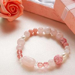 おまじない&占いショップ「ハピタマ!」 7つの宝石ブレス-ピンク
